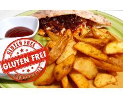 Hamburger di Galletto in salsa barbecue ,Brie  fuso,cipolla rossa caramellata e patate rustiche speziate-GLUTEN fREE