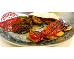Hamburger vegetariano con pomodori e patate alla griglia contorno di friarielli napoletani -GLUTEN FREE